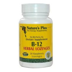 NATURE'S PLUS - B-12 Herbal Lozenges 1000mcg - 30 Raspberry Lozenges
